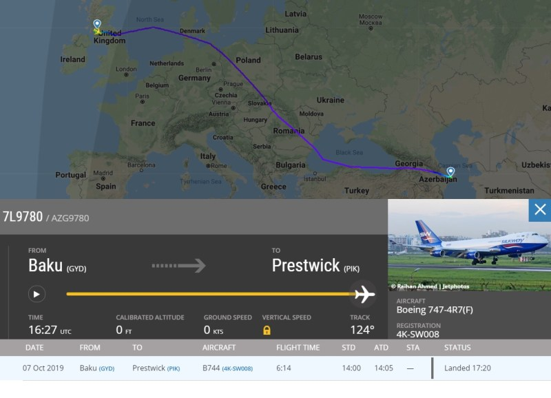 Radar Voo 9780 SilkWay Baku Prestwick Near Miss