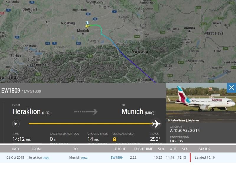 Voo Eurowings EW1809 atraso após incidente