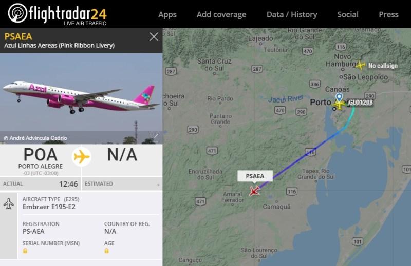 Flight Radar 24 Azul PS-AEA Rosa