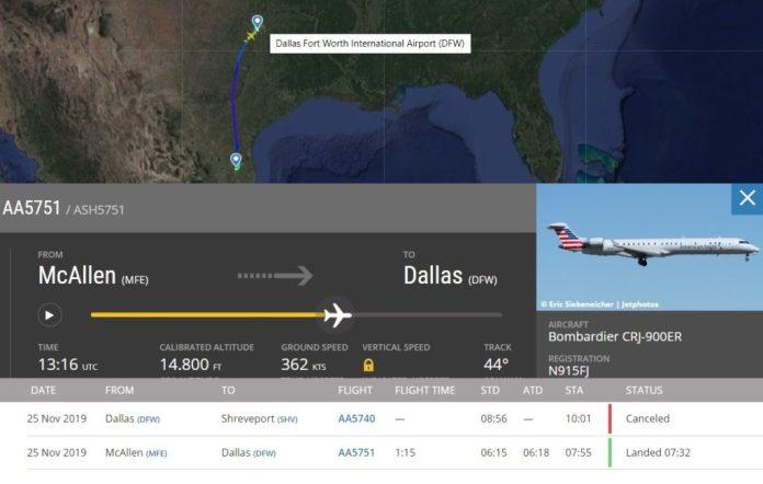 Flight Radar 24 Voo AA5751 Dallas Acidente Caminhão Combustível