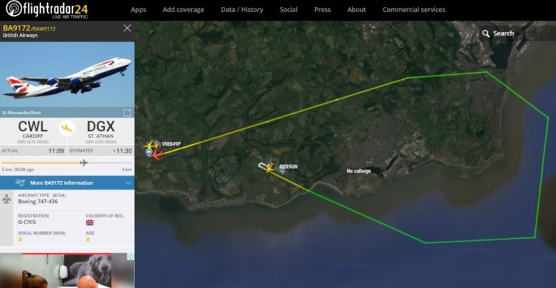 Flight Radar 24 Voo BA9172 Cardiff St. Athan British 747