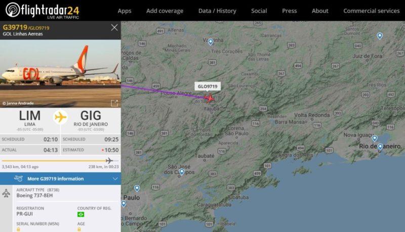 Flight Radar 24 Voo Gol 9719 Lima Galeão Flamengo 2019