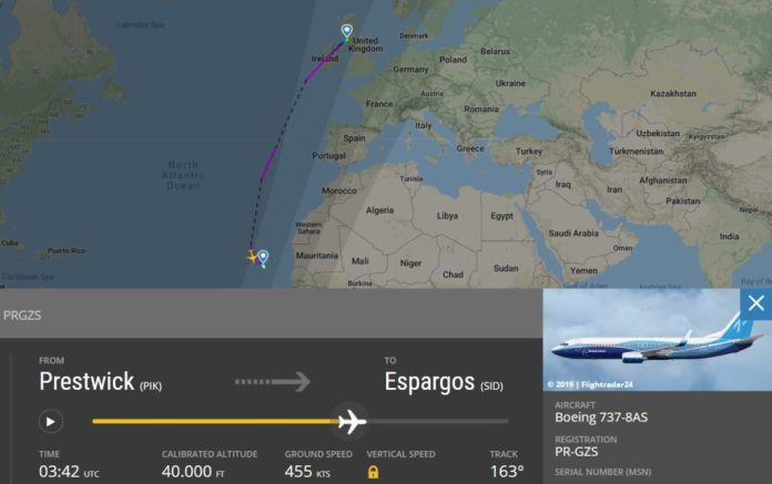 Flight Radar 24 Voo PR-GZS 737-800 GOL Ryanair