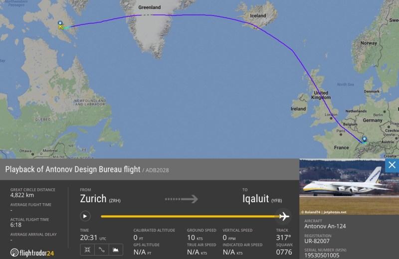 FlightRadar24 An-124 Motor Swiss Iqaluit