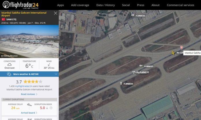FlightRadar24 Veículos Serviço Aeroporto Istambul Sabiha