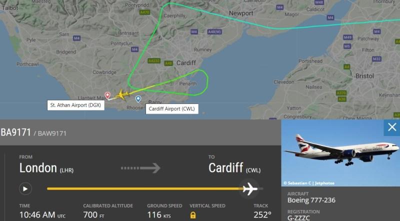 FlightRadar24 Voo Retirada 777-200 G-ZZZC British