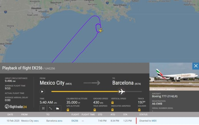 FlightRadar24 Desvio Emirates México No-Fly Passenger