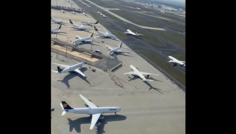 Vídeo aéreo frota Lufthansa pátios taxiways Frankfurt