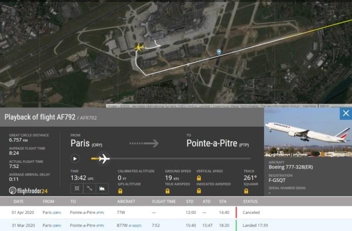 FlightRadar24 Último Voo Air France Paris Orly
