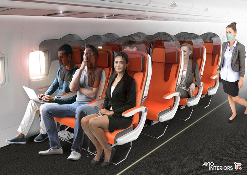 Isolamento social em aviões - Alternativa de divisórias