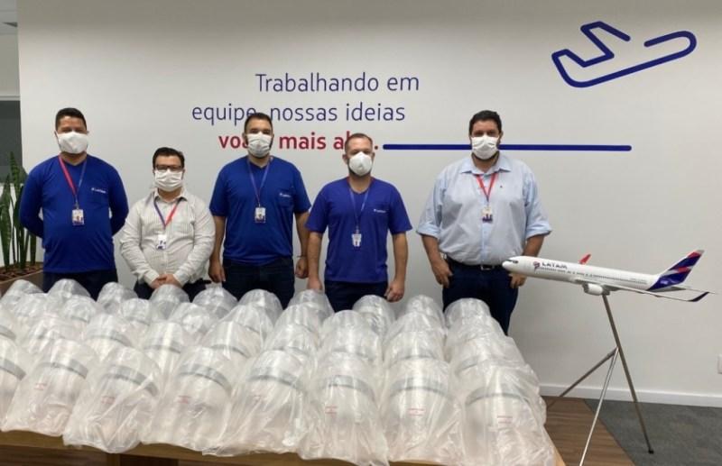 Protetores Faciais Face Shield Centro de Manutenção de Aeronaves LATAM