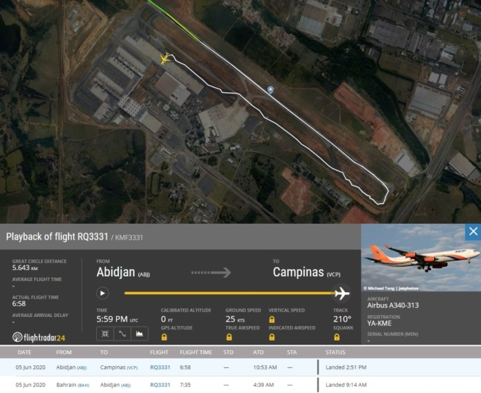 FlightRadar24 Chegada A340-300 Kam Air Viracopos Campinas
