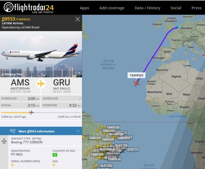 FlightRadar24 Último Voo 777 LATAM Máscaras China