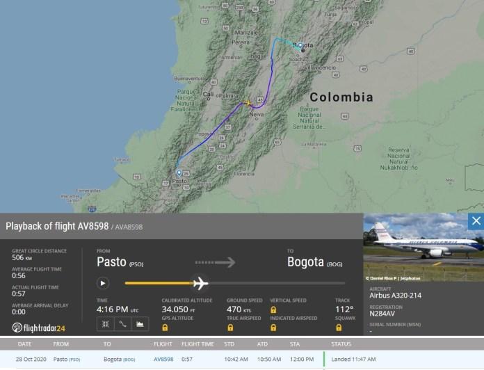 FlightRadar24 Voo A320 Avianca Danificado Asfalto Pista