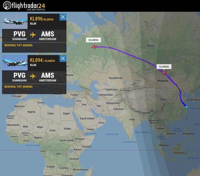 FlightRadar24 Voos Últimos 747-400M KLM