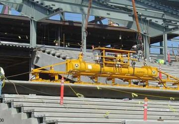 Vacuum lifter of Aerolift which is used during the construction of a stadium
