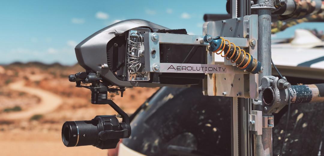 X7 Mini Remote rig DJI Inspire 2 Drohneneteam luftaufnahmen LED Drohne setbeleuchtung gripper kameramontage drharbeiten led drone moving light cable cam