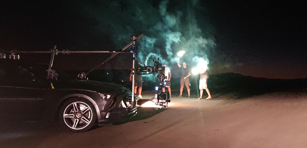 making of tracking car kamerauto kamerafahrzeug dji ronin 2 Gimbal remote head luftaufnahmen fpv race drohne