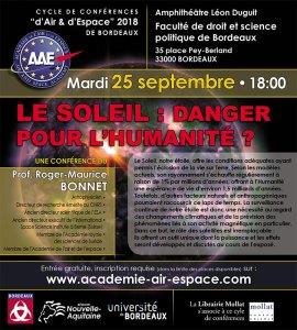 Le Soleil : danger pour l'humanité? par le Pr. Roger Maurice Bonnet @ Amphithéâtre Léon Duguit - Faculté de droit et science politique - Bordeaux | Bordeaux | Nouvelle-Aquitaine | France