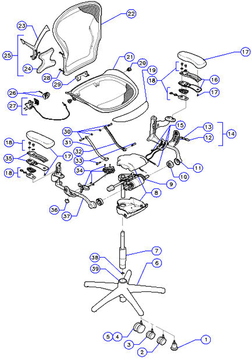 Parts Diagram  Herman Miller Aeron Desk Chairs and Parts