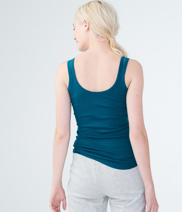 Aeropostale Womens Solid Ribbed Double-strap Tank