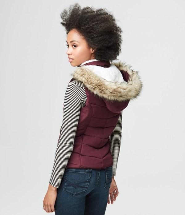 Aeropostale Womens Hooded Puffer Vest