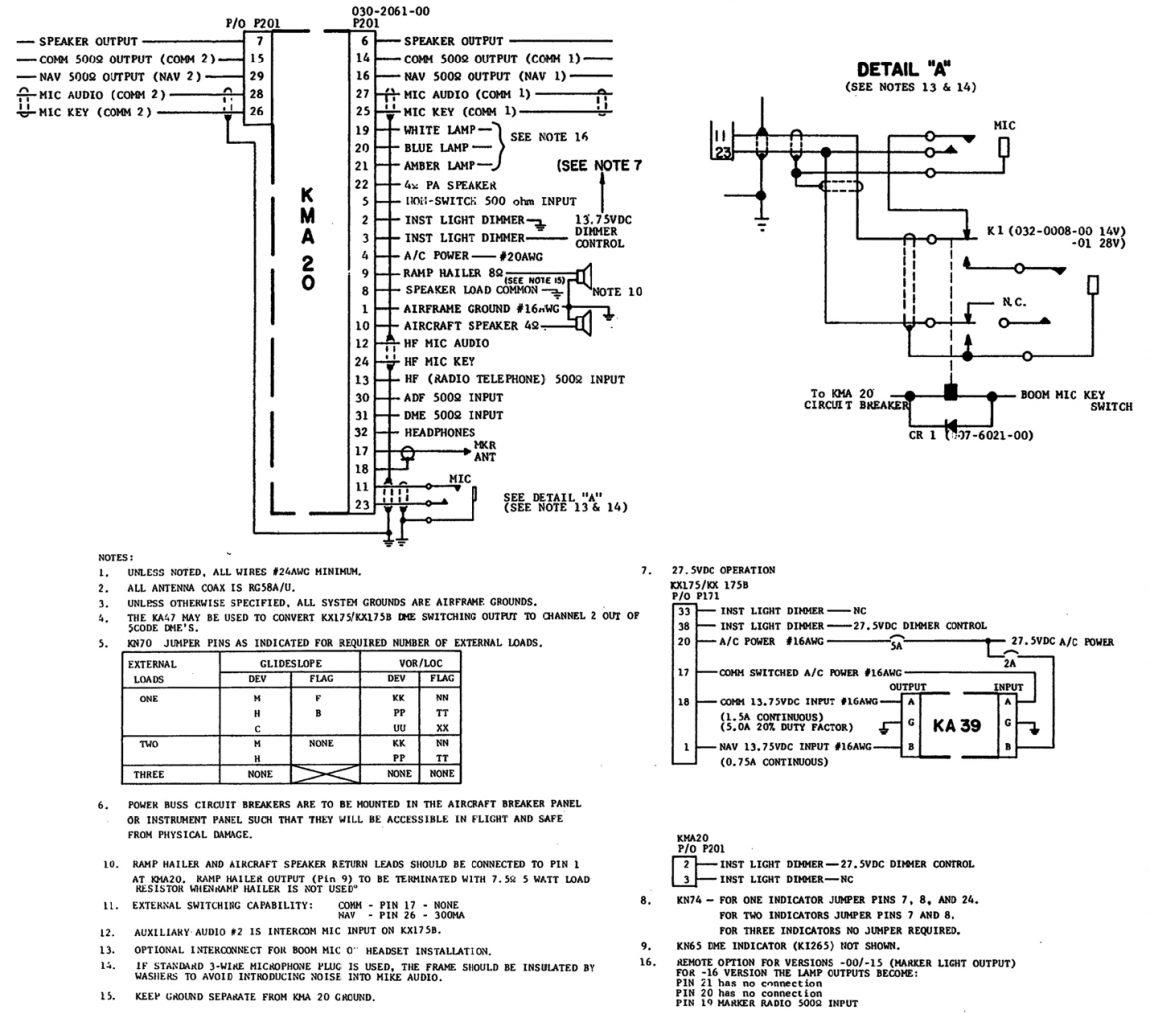 pro audio wiring diagrams wye delta connection diagram king kma 20 panel interconnect  aero avionics llc