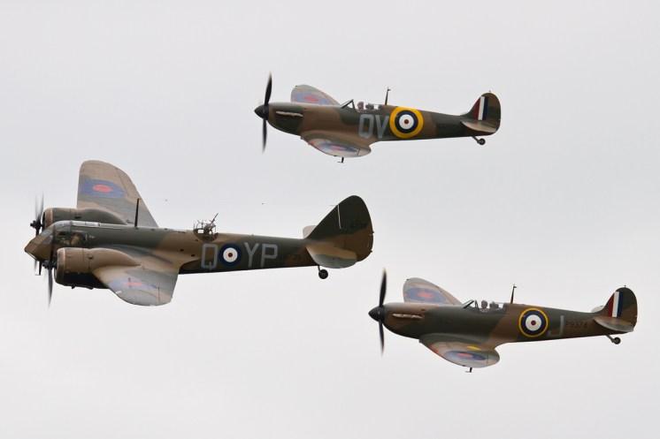 © Ben Montgomery • Blenheim & Spitfire Mk1 formation • Duxford VE Day 70th Anniversary Airshow