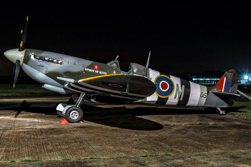 © Paul Smith • Spitfire MkIX TA805 'Spirit of Kent' • Biggin Hill Heritage Hangar Nightshoot