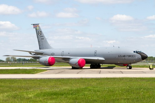 © Adam Duffield • Boeing KC-135R 64-14830 is believed to be one of the airframes destined for conversion • RC-135W Rivet Joint Arrival