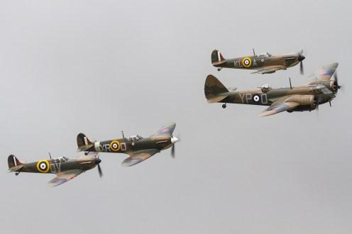 © Ben Montgomery • Bristol Blenheim G-BPIV and Spitfire escort • Flying Legends 2015