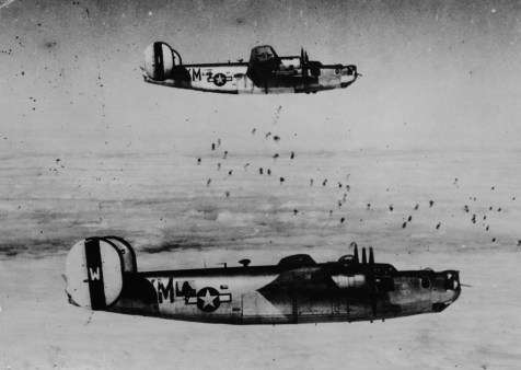 © Roger Freeman Collection / http://www.americanairmuseum.com - B-24J's of 93rd BG/330 BS flying through flak on the way to Misturg - 93rd Bomb Group Museum