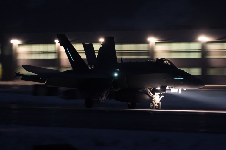 © Adam Duffield - F/A-18C Hornet J-5012 lands back at Sion after an evening mission - World Economic Forum Air Policing
