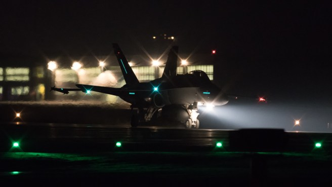 © Adam Duffield - F/A-18C Hornet J-5005 lands back at Sion after an evening mission - World Economic Forum Air Policing