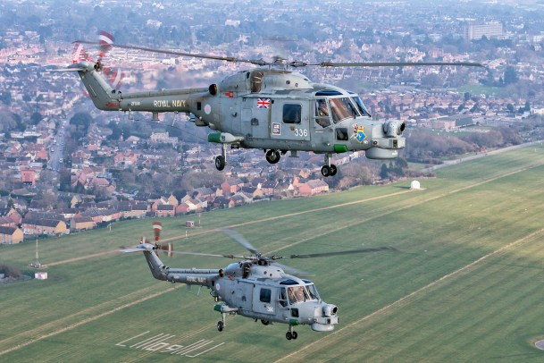 © Mark Kwiatkowski - A pair of Lynx HMA8's in formation above Somerset - Royal Navy Lynx Retirement
