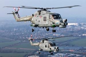 ©Mark Kwiatkowski - A pair of Lynx HMA8's in formation above Somerset - Royal Navy Lynx Retirement