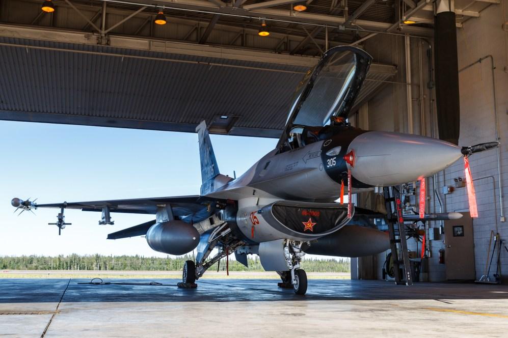 © Mark McGrath - F-16C-30-CF (86-0305) of the18th Aggressor Squadron prior to a Red Flag Alaska 17-2 sortie - Red Flag Alaska 17-2
