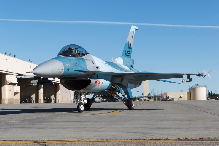 © Mark McGrath - F-16C-30-CF (86-0298) of the 18th Aggressor Squadron taxiing out during Red Flag Alaska 17-2 - Red Flag Alaska 17-2