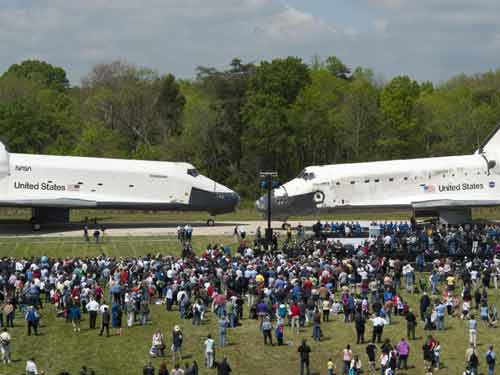 Space Shuttles Meet Nose-to-Nose Picture