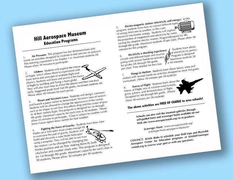 Hill Aerospace Museum Education Programs Document