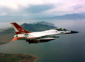 Airborne F-16 (thumbnail) with Flight Test White and Bright Orange Paint Scheme