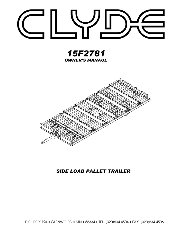 Clyde Machines 15F2781 Side-Load Pallet Trailer Manual