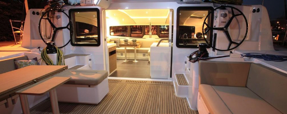 Outremer 5X catamaran cockpit