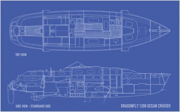 Dragonfly 1200 Trimaran Layout | Dragonfly Trimarans LI, NY