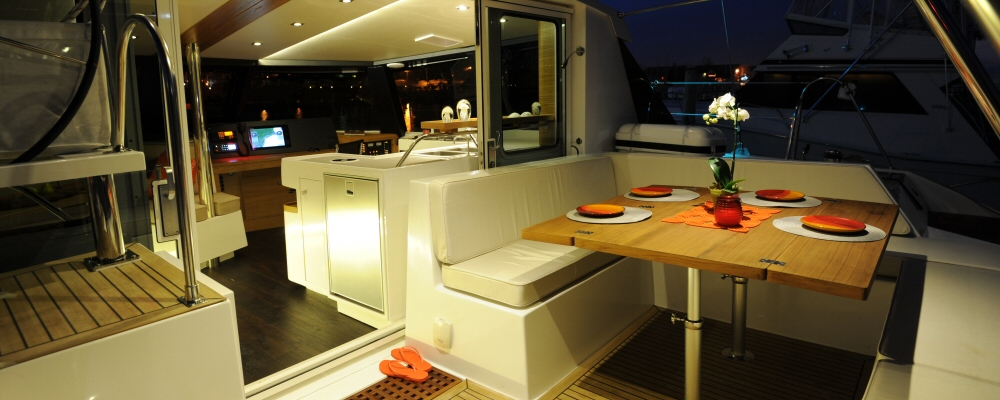 Alpha 42 catamaran cockpit