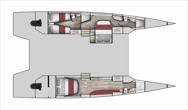 McConaghy 50 Multihull 3 Cabin Layout open floor plan