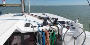 Neel 47 Trimaran sailing and interior photos