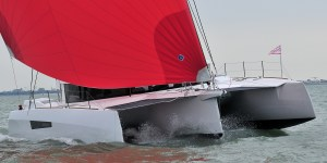 Neel 47 Trimaran sailing and interior photos
