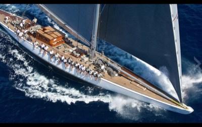 J-Class sailboat under full sail