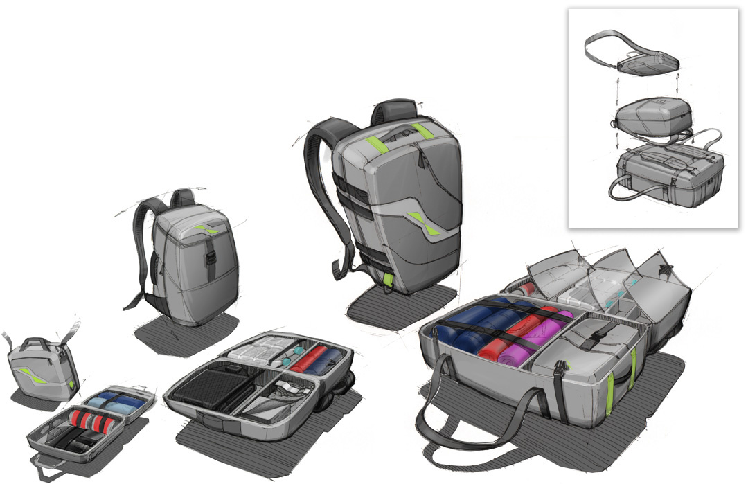 family of luggage: example of my hand sketching + Photoshop rendering